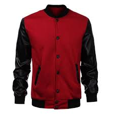 whole cool mens wine red baseball jacket autumn fashion slim black pu leather sleeve er jacket jaquetas men brand varsity jackets coats and jacket