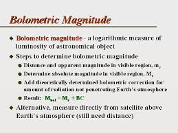 absolute magnitude equation. so the bolometric magnitude represents total luminosity ( power output ) of a star. absolute equation b