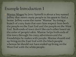 reviewing how to write your introduction ppt video online  10 example introduction 1 maniac magee