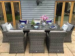 malibu 8 seater patio furniture set. venice luxury grey rattan garden or conservatory 8 seat rectangular dining furniture set malibu seater patio