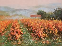 misty vineyard countryside scene of tuscany landscape oil painting