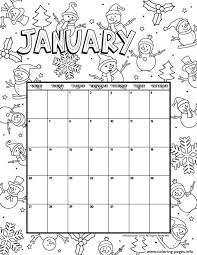 Print and color winter pdf coloring books from primarygames. January Calendar 2019 Winter Coloring Pages Printable