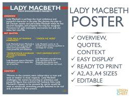 Macbeth Poster By LessonChest Teaching Resources Tes Enchanting Lady Macbeth Quotes