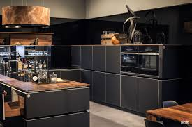 Kitchen Island Open Shelves Gray Kitchen Island With Wood Countertop Double Wall Ovens Wooden