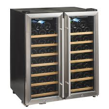 wine enthusiast silent  bottle double door dual zone wine