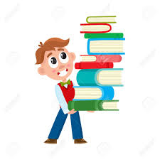 boy holding carrying huge stack pile of book cartoon vector ilration isolated