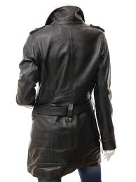 women s black leather trench coat asaw back