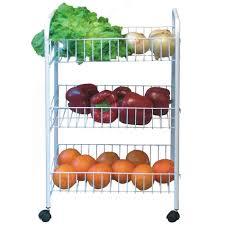 3 tier shelf kitchen white storage trolley wheels veg fruit cart storage rack
