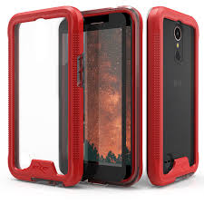 LG K20 Plus - Zizo ION Triple Layered Cover Tempered Glass Screen Protector Red/Clear