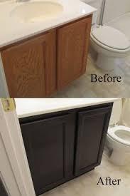 bathroom cabinet redo. Staining Oak Cabinets An Espresso Color {DIY Tutorial} Bathroom Cabinet Redo O