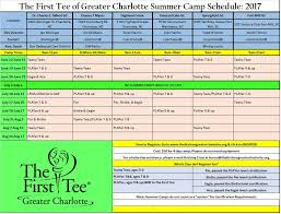 Summer Camp Weekly Schedule 2017 Summer Camp Schedule Jpg The First Tee Of Greater Charlotte