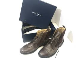 cole haan leather brown boots zip up c12775 size 9 m for