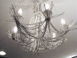branch chandelier lighting. white twig chandelier from willow branches and grapevines via funky junk interiors branch lighting