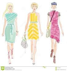 Fashion Designing File Moda Fashion Show Illustration With Clipping Path Stock