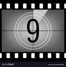 Movie countdown number 9 Royalty Free Vector Image