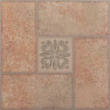 12 x12 tivoli beige terracotta motif self adhesive vinyl floor tile set of 45 traditional vinyl flooring by achim importing co