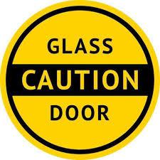 5x5 caution glass door sticker vinyl business sign doors decal stickers signs