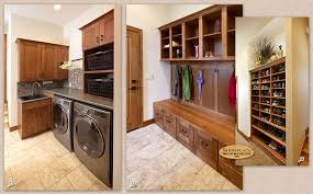 Cabinets: Showplace cabinetry creates a mud room, laundry room and shoe rack .