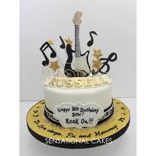 Electric Rock Guitar Theme 3d Cake Singapore Gold Black White