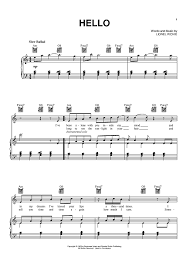 hello free piano sheet music piano chords to hello music sheets chords tablature and song