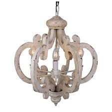 6 light distressed antique white wooden chandelier free authentic wood majestic 2
