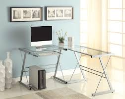 office desk glass.  Office Glass Office Desk Ideas Using Transparent Computer In L Shape  With Cross Silver Metal Legs Throughout C