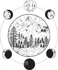 Mountain Landscape The Moon The Stars The Masonic Tattoo The Design