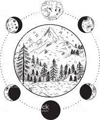 山の風景月星フリーメーソンのタトゥーt シャツ錬金術akultism中世の宗教
