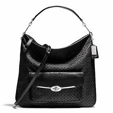 COACH f27906 MADISON OP ART PEARLESCENT HOBO SILVER BLACK