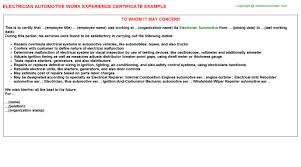 Auto Dealership Work Experience Certificates Experience Letters