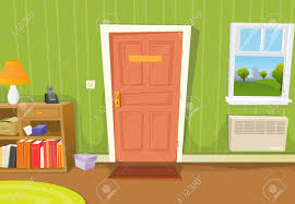 inside front door clipart. Illustration Of A Cartoon Home Interior With Living Room Door Entrance, Various Household Objects And Inside Front Clipart L