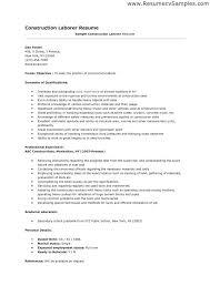 General Laborer Resume Sample Construction Samples Velvet Jobs