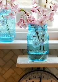 Ways To Decorate Glass Jars Simple Ways To Decorate With BlueTinted Mason Jars 43