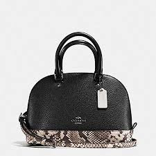 Coach F57506 MINI SIERRA SATCHEL WITH SNAKE EMBOSSED LEATHER TRIM in BLACK