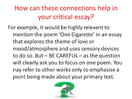 one cigarette by edwin morgan learning intentions compare and  how can these connections help in your critical essay