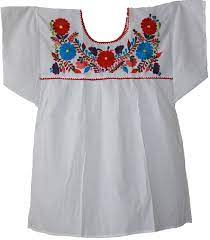Mexican Peasant Puebla Blouse 3X (White) at Amazon Women's Clothing store