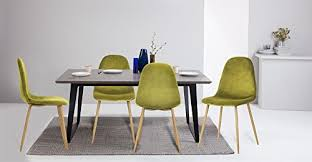 greenforest dining chairs velvet back and cushion with metal legs elegant mid century modern side chairs eames style set of 4 lime green