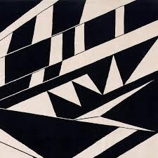 deco black and white hand knotted tibetan modern geometric rug