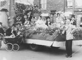 """Bill Alderman standing by one of the floats """"The English Garden"""". - Living  Archive"""