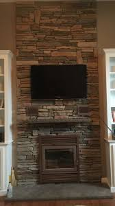 new zero clearance wood stove insert cultured stone veneer hearth and wall in windham new