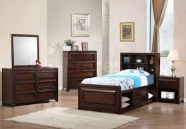 Bedroom Dark Brown Wooden Bedside Table Next To Bed  Connected By White Bedroom Furniture Ideas98