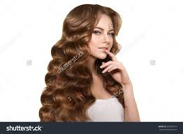 Hairstyles Female Hair Loss Model Long Hair Waves Curls Hairstyle Stock Photo 329920157