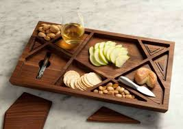 a wine cheese tray with 112 removable pieces