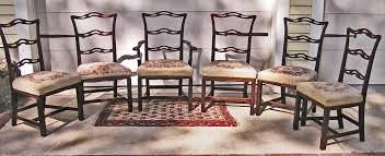 A Set of 6 Chippendale Style Mahogany Needlepoint Chairs 1st Q 20th C. -  For Sale