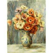 vase d anemones by pierre auguste renoir painting print on wrapped canvas