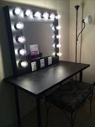 Cute easy simple DIY wood rustic vanity mirror with hollywood style lights  4 any makeup room! This cozy farmhouse style mirror is the perfect way t