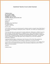 Teacher Resume Cover Letter Cover Letter For Substitute Teacher