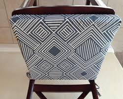 geometric print seat cushion cover kitchen chair pad metal blue gray on cream