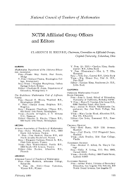 NCTM Affiliated Group Officers and Editors