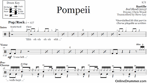 drum set sheet music pompeii bastille drum sheet music onlinedrummer com